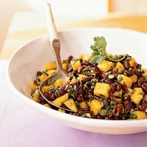 Canned beans are a great option for working protein and fiber into dishes. We tested this mango and black bean salad with organic, no-salt-added beans to keep sodium in check. The sweet mango brightens the earthiness of the beans and wild rice. Garnish with fresh cilantro. Serve with spicy pork tenderloins.