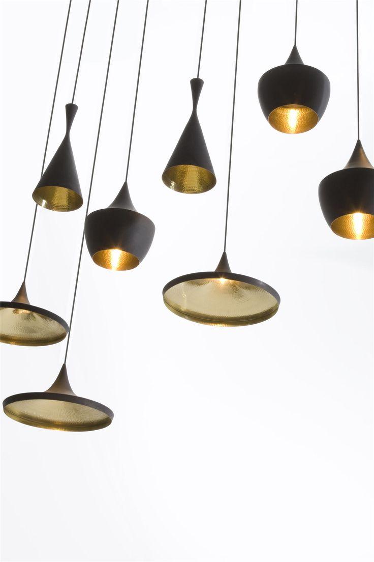 Tom Dixon Beat Series Pendants.  I love the hammered copper contrast!