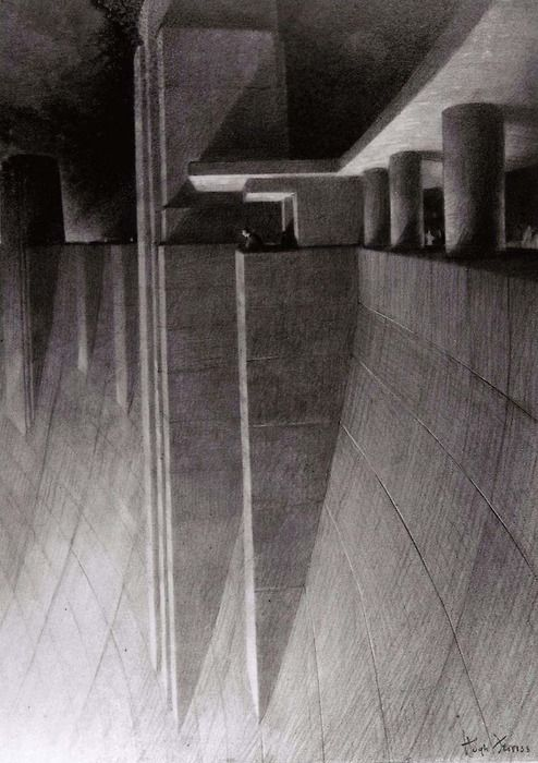 Crest of Boulder, Hoover Dam, The Power in Buildings series.  Charcoal on tracing paper on board  by Hugh Ferriss