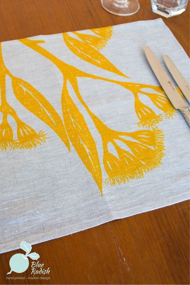 100% linen placemats. Hand printed Gum Blossom design in yellow ink onto natural coloured linen. Available as a set of 4.