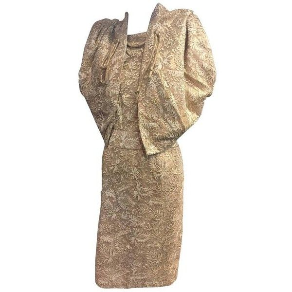 Preowned Exquisite 1950s Don Loper Gold Lamé Lace Sheath Dress W... ($3,500) ❤ liked on Polyvore featuring dresses, brown, suits, two piece lace dress, lace sheath dresses, 2 piece lace dress, brown dress and sheath dresses