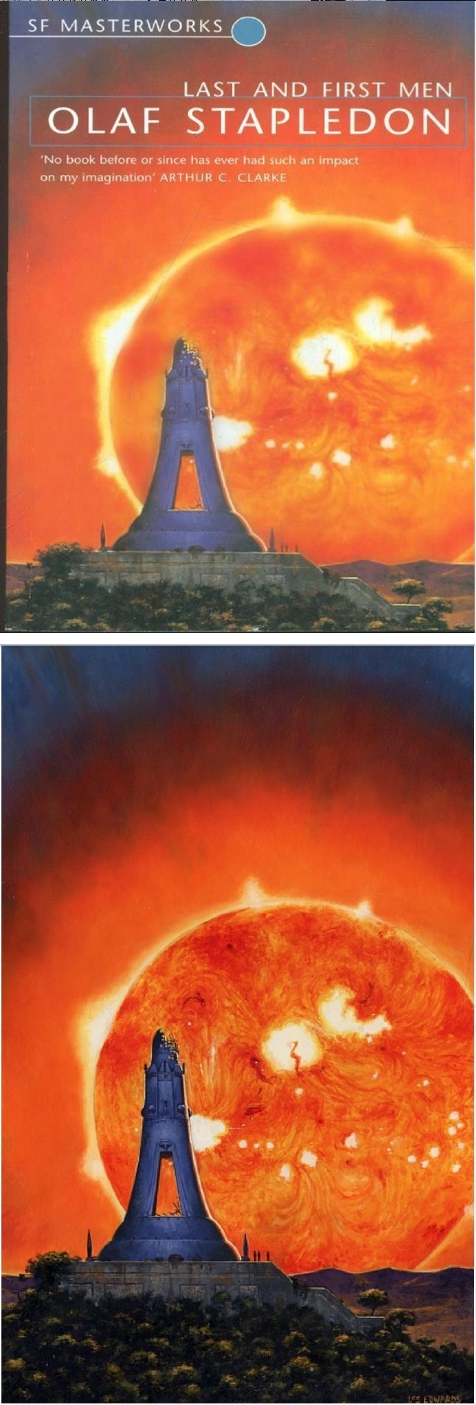 Les Edwards Last And First Men By Olaf Stapledon 1999 Millennium Orion Cover By Abebooks Co Uk Print By Lesedw Romantic Style Fantasy Science Fiction