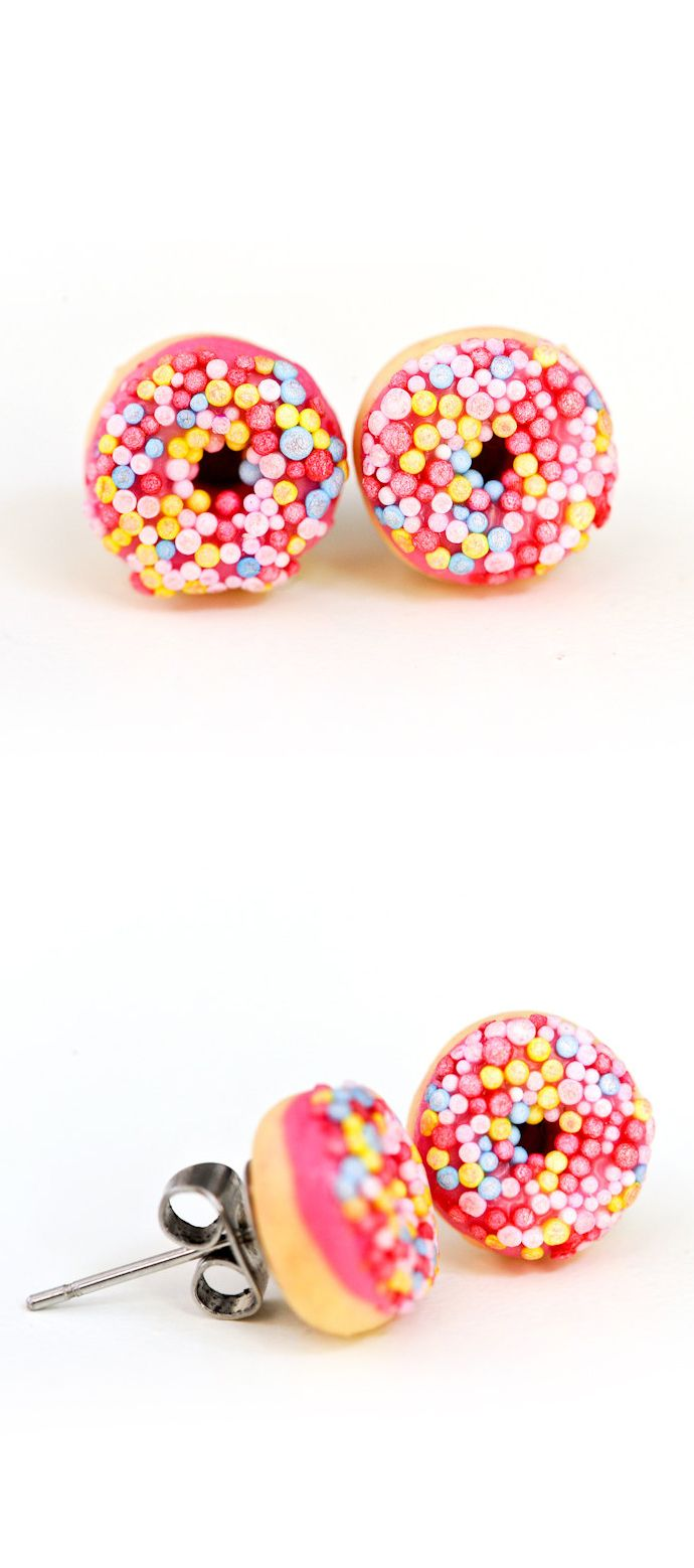 Perfect Gift For Donut Lovers  These Strawberry (hot Pink) Iced Donut Stud  Earrings