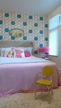 Cheerful Rooms --- Cool Colors! Like the pom-poms around the duvet cover...