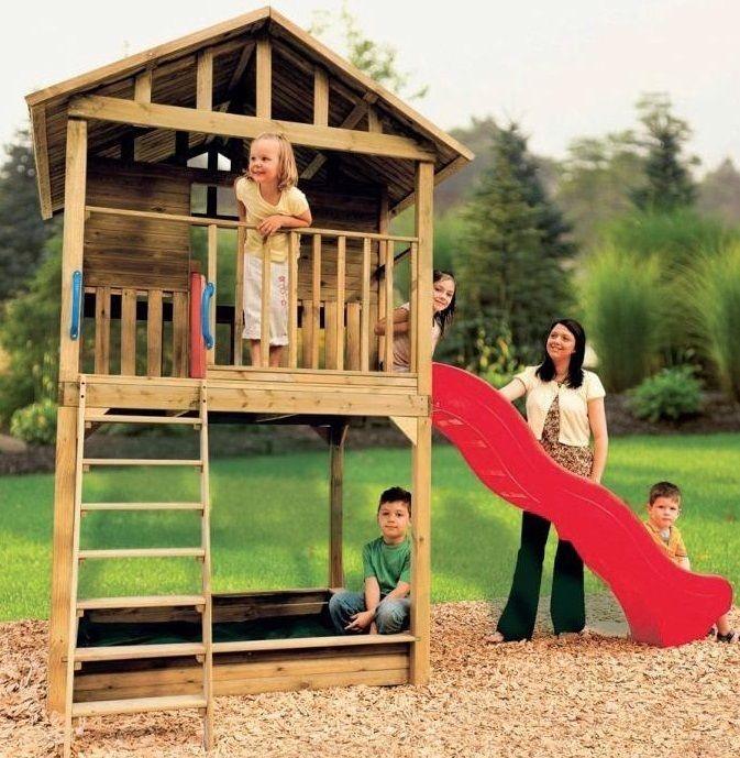casa de madera con tobogan y arenero para jardin nios guarderia parque infantil
