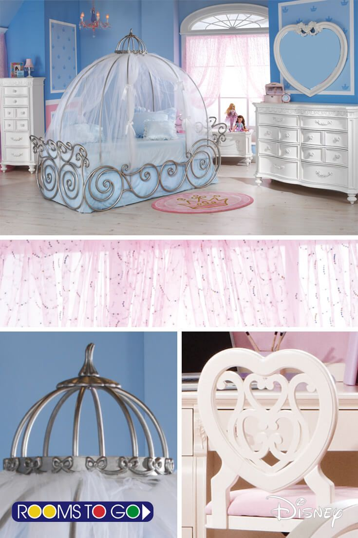 Dreams begin with this whimsical Cinderella carriage bed. Including tent and canopy, this magical bed is made of scrolled metal and has an appealing white-gold finish.  Fitting for a princess, the carriage bed evokes images of happily ever after.