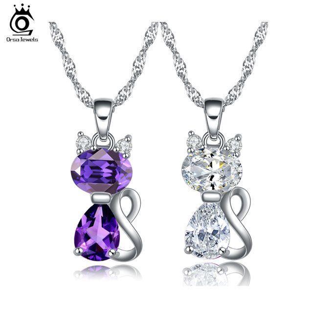 JOYAS ORSA Lindo Gato Collar de Los Colgantes con 1.8 Quilates Zircon de Austria Collar de Cristal para Las Mujeres ON77