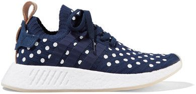 adidas Originals - Nmd_r2 Leather-trimmed Polka-dot Primeknit Sneakers - Storm blue - $170 http://shopstyle.it/l/cnuP