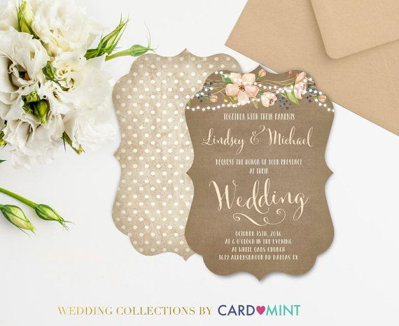 Rustic Wedding Invitations Set Package watercolor painted water color watercolor