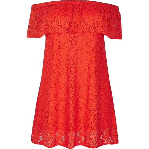 River Island RI Plus red daisy lace bardot dress ($47) ❤ liked on Polyvore featuring dresses, womens plus dresses, lacy red dress, women's plus size dresses, plus size dresses and lacy dress