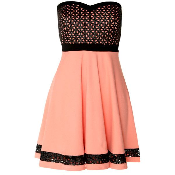 Laser Cut Floral Leatherette Trim Strapless Dress, Coral (3,310 INR) ❤ liked on Polyvore featuring dresses, vestidos, strapless mini dress, flared skirt, coral strapless dress, red strapless dress and circle skirt