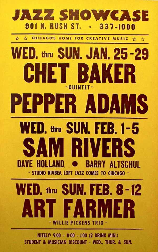 Chet Baker, Sam Rivers & Art Farmer – Boxing-Style Jazz Concert Poster