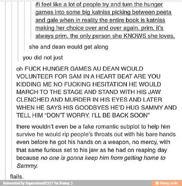 Hunger games and supernatural I MUST want to read this.