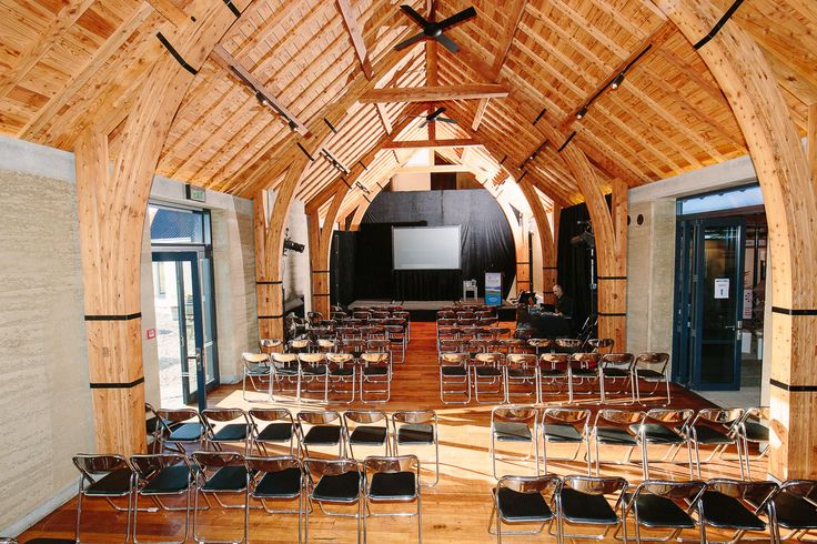 The Rippon Hall set up ready for a speaker event during a conference in Wanaka, NZ