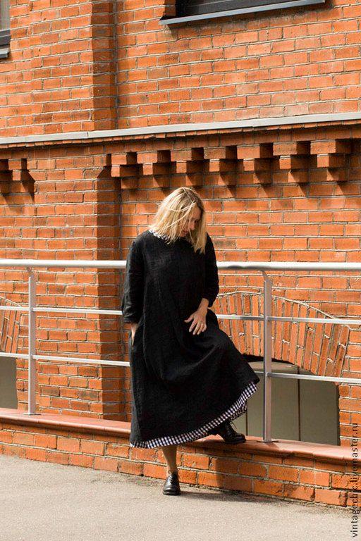 Купить Комплект платьев во французском стиле art.68b (черная клетка) - черный, платье