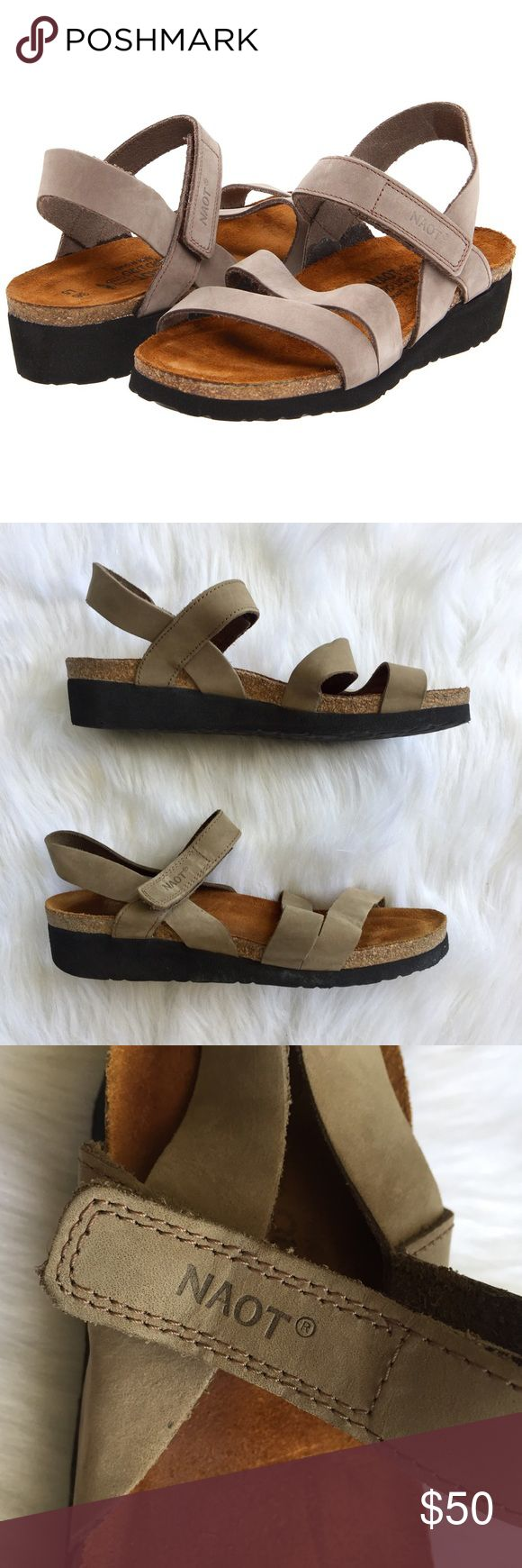 "Naot ""Kayla"" Sandals I believe these are in the color Clay Nubuck. They have very gentle wear with only a few minor signs of use that have been pictured. Natural upper leather ""breathes"" to keep the foot fresh. A shock absorbent footpad also absorbs perspiration. Naot footpads encourage natural and correct posture; weight of the body is distributed equally over the entire foot. Marked as size 40, on the Naot website, they say this converts to a US 9-9.5. I would say they fit a 9 best. Naot…"
