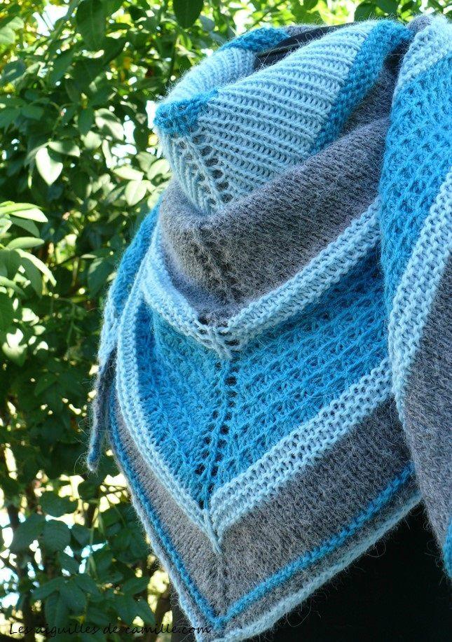 Tricotez votre châle Facile pas à pas. - Créa'Tricot | Modèles de châle en tricot, Tricot ...