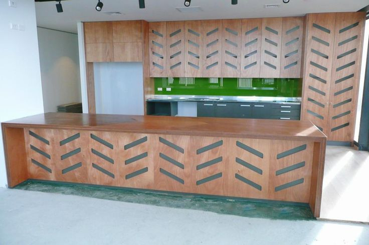 Commercial kitchen with plywood bench tops & cabinetry