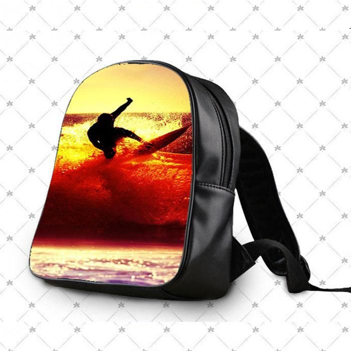 Surfing With Sunset School Bag Backpacks