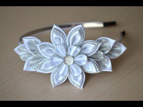 Белый ободок Мастер класс канзаши цветы из лент DIY White hair band handmade…