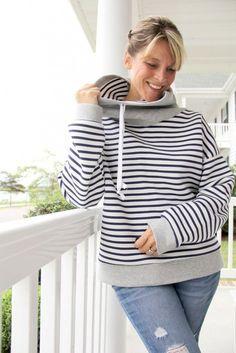 How to sew a Cowl Neck Hoodie Sweatshirt, with free women's sweatshirt pattern