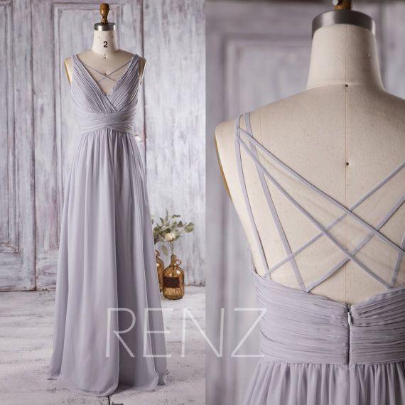 2016 Light Grey Bridesmaid Dress Long, V Neck Wedding Dress, Off White Mesh Spaghetti Strap Prom Dress, Formal Dress Floor Length (L126A)
