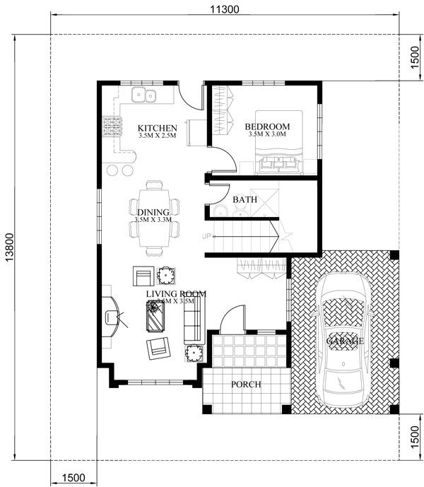 Php 2015023 Four Bedroom Two Storey Contemporary Residence Pinoy House Plans Two Story House Design House Plans House Plans Mansion