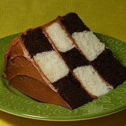 checkered cake - make circles as shown in this tutorial:  http://iambaker.net/vertical-layer-cake-tutororial