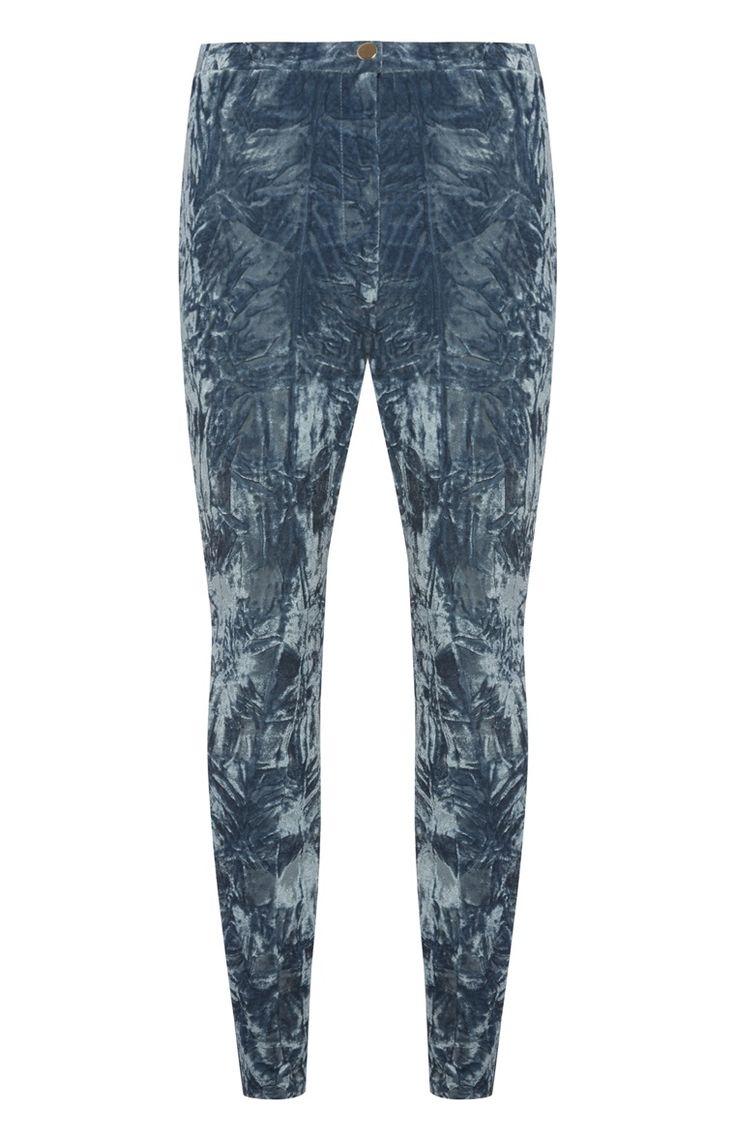 Blauw fluwelen legging met hoge taille