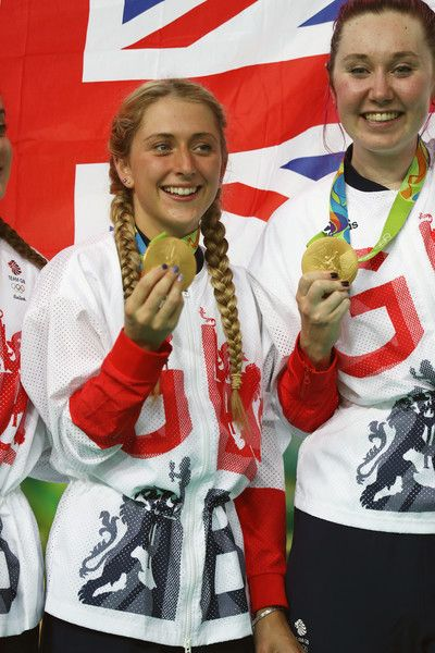 Laura Trott Photos - Gold medalists Laura Trott and Katie Archibald of Great…