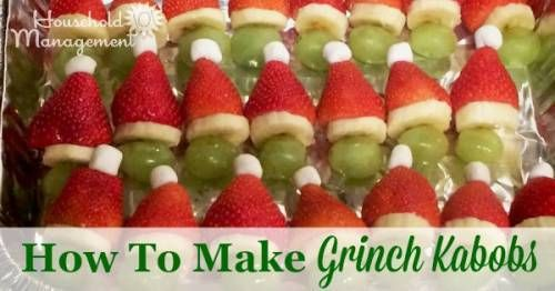 How to make Grinch Kabobs, an easy fun and simple Christmas activity to do with your kids {on Household Management 101}
