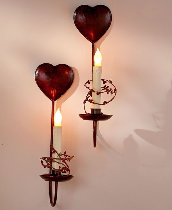 Country valentines day hearts stars modern battery led candle pair wall sconce unbranded