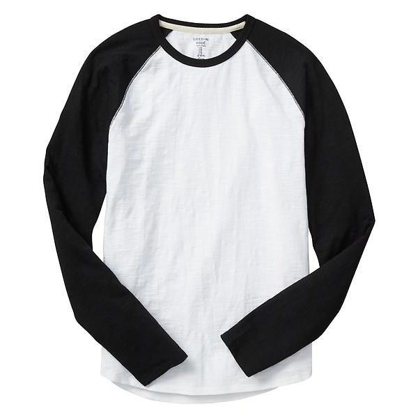 Gap Men Lived In Baseball Tee ($11) ❤ liked on Polyvore featuring men's fashion, men's clothing, men's shirts, men's t-shirts, tops, men, men's color block shirt, mens crew neck t shirts, mens long shirts and mens long length shirts