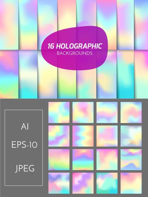 Holographic backgrounds set. Holographic Backgrounds. $7.00