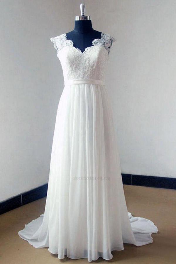 Outlet Substantial Chiffon Wedding Dress, V-Neck Wedding Dress, Lace Wedding Dress, Ivory Wedding Dress