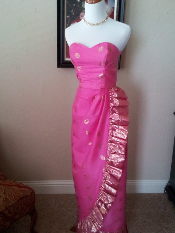 1960s Silk Ethnic or Indian Sari Dress / Gown by GlitznGlamVintage, $75.00