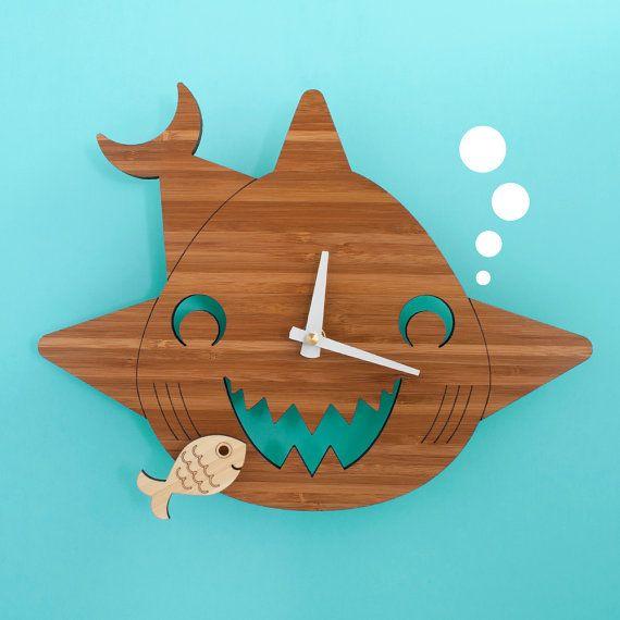 Bamboo Happy Shark Clock: Wooden Kids Wall Clock Ocean