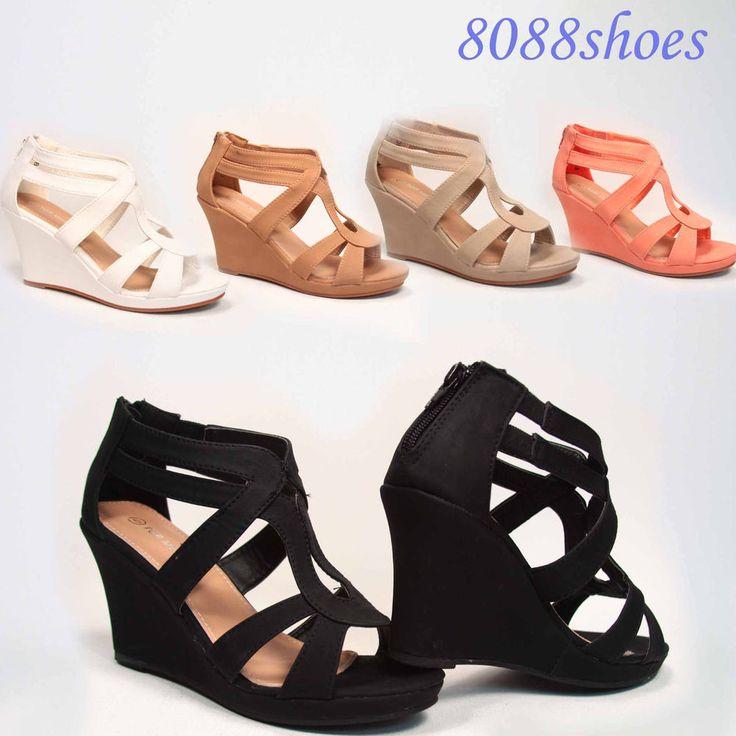 Cute Strappy Low Wedge Open Toe Platform Fashion Sandal Shoes Size 5  - 10 NEW #TopModa #PlatformsWedges