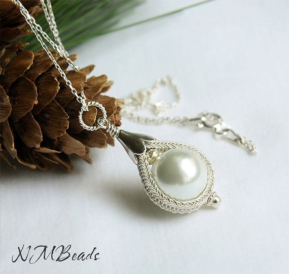 Pearl Necklace With Knitted Bezel Bridal Jewelry by NMBeadsJewelry