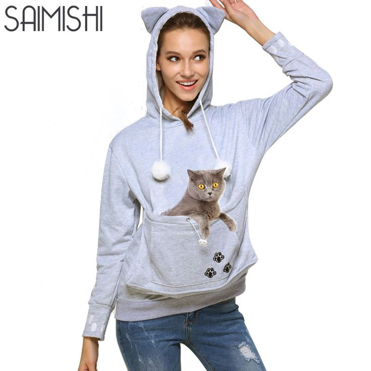 Saimishi Kat Liefhebbers Hoodie Sweatshirts Met Cuddle Pouch Hond Huisdier Truien Voor Casual Kangoeroe Truien Borduren Vrouwen Tops