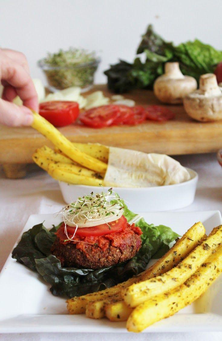 (Vegan) (Raw) This Rawsome Vegan Life: raw yam burgers & daikon fries with ketchup