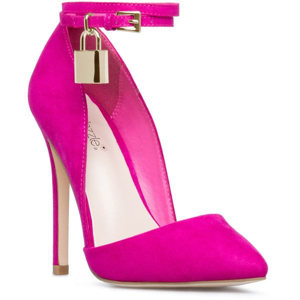ShoeDazzle Pumps Cinthya Womens Purple ❤ liked on Polyvore featuring shoes, pumps, purple, purple pumps, ankle strap pumps, purple shoes, ankle tie shoes and ankle wrap pumps