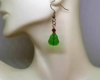 Christmas tree earrings, festive earrings, Christmas earrings, tree earrings, tree jewelry, nickel free earrings, holiday earrings, green