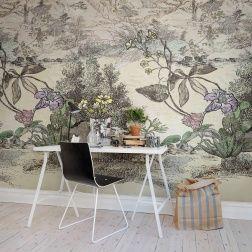 Fantasilandskap kombinerat med en japansk vintageteckning och med gamla botaniska teckningar.