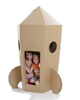 Cardboard Rocket Play House - stimulates a child's imagination, folds away when done!