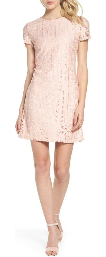 lace sheath dress by Julia Jordan. Pretty in pink in a lace sheath that lets you move, dance and socialize at this season's parties. Style Name: Julia Jordan Lace Sheath Dress. Style Number: 5513766. Available in stores. #juliajordan #dresses