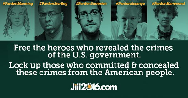 Free the heroes who revealed the crimes of the U.S. government. Lock up those who committed and concealed these crimes from the American people. - Dr. Jill Stein