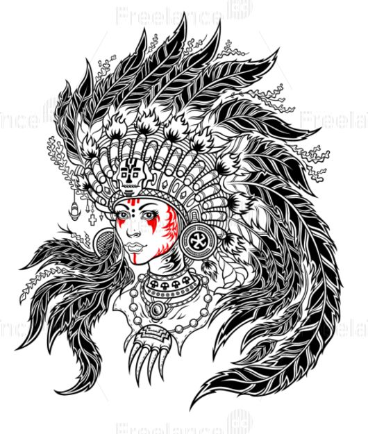 Indian girl. Таттоо. #tattoo #ideatattoo #girltattoo #indian #girl #graphic #freelancediscount  Buy Image for $ 3