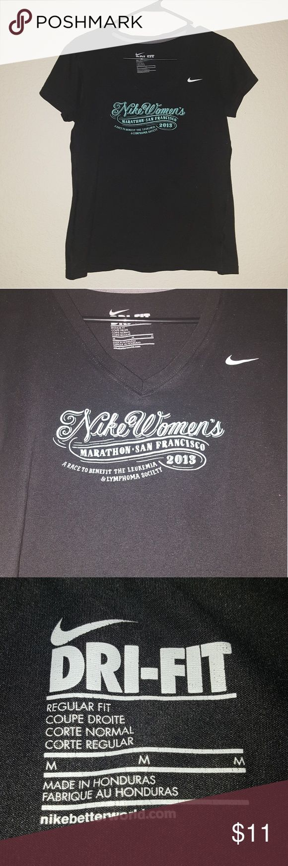 Woman's Nike V-neck Women's Nike Dri-FIT v-neck t-shirt. From the Nike women's 2013 marathon in San Francisco. Size medium. Great quality, super soft, and slightly stretchy. Nike Tops Tees - Short Sleeve