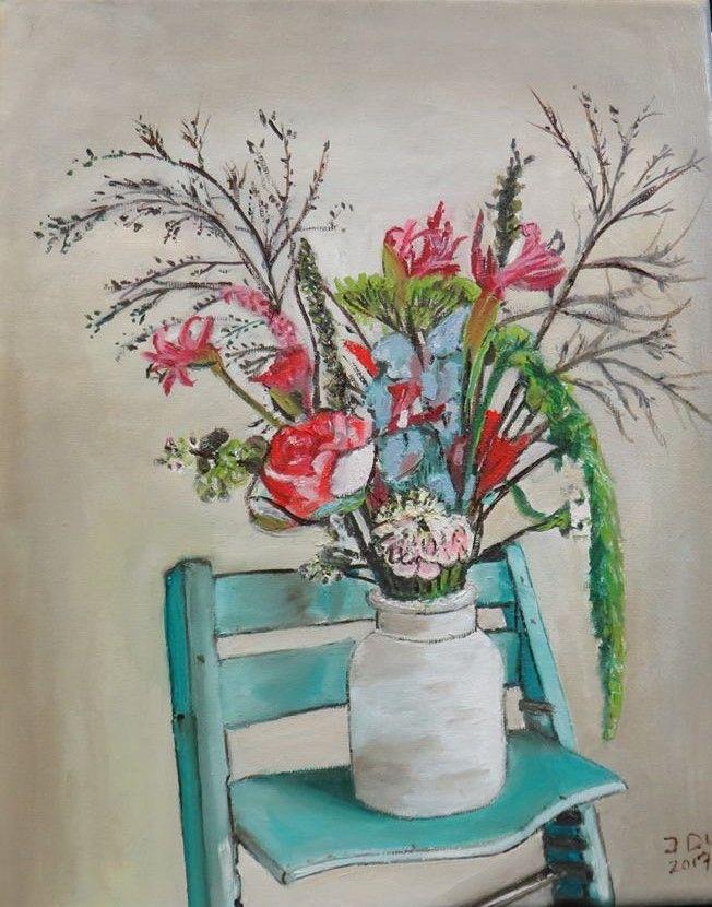 Boeket bloemen in vaas op stoel. olieverf op doek 24x30